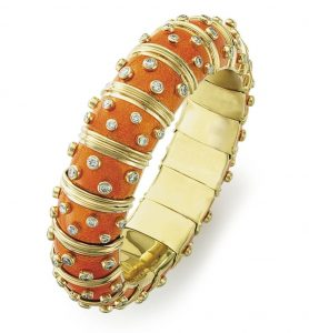 Lot 49 - An Enamel and Diamond Bangle Bracelet by Jean Schlumberger, Tiffany & Co.