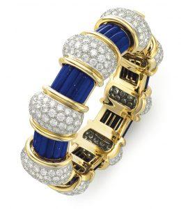 Lot 66 - A Lapis Lazuli, Diamond and Gold Bangle Bracelet by Jean Schlumberger, Tiffany & Co.