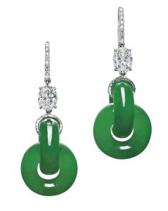 Lot 1788 - Rare and Fine Pair of Jadeite Double Hoop and Diamond Pendant Earrings