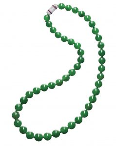 Lot 1672 - Fine Jadeite Bead, Diamond and Ruby Necklace