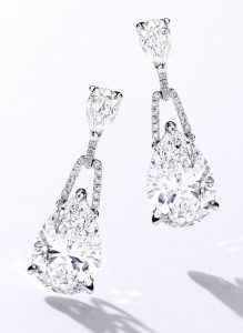 Lot 1781 - Fine Pair of Diamond Pendant Earrings