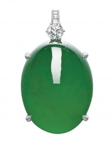 Lot 1789 - Important Jadeite and Diamond Pendant