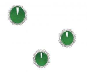 Lot 1634 - Jadeite and Diamond Demi-Parure