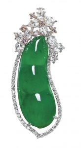 Lot 1629 - Jadeite Peapod, Diamond and Pink Diamond Pendant