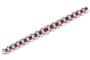 Lot 1762 - Ruby and Diamond Bracelet