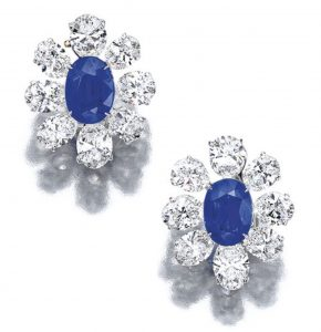 Lot 1692 - Pair of Sapphire and Diamond Earrings by Harry Winston