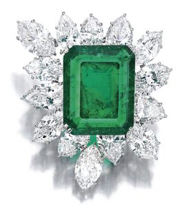Lot 1646 - Emerald and Diamond Brooch, Harry Winston