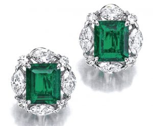 Lot 1760 - Fine Pair of Emerald and Diamond Earrings