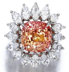 Lot 1703 - Fine Padparadscha Sapphire and Diamond Ring