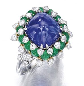 Lot 1736 - Sapphire, Emerald and Diamond Ring, Bulgari