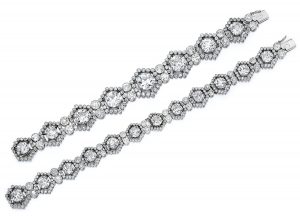 Lot 1749 - Cartier Belle Époque Diamond Choker, dismantled to give bracelets