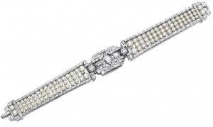 Lot 1743 - Natural Pearl and Diamond Bracelet, Tiffany & Co.