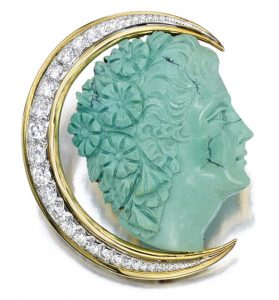 Lot 1752 - Turquoise and Diamond Goddess of Moon Brooch, van Cleef & Arpels