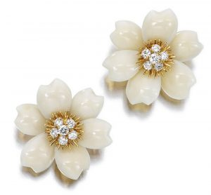 Lot 1615 - Pair of White Coral and Diamond Earclips, Rose-de-Noel, Van Cleef & Arpels