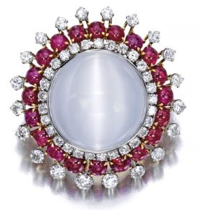 Lot 1625 - Cat's Eye Moonstone, Ruby and Diamond Brooch, David Webb