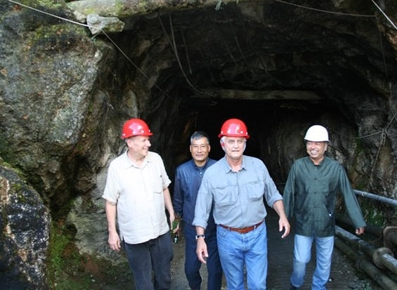 AGTA President Jeffrey Bilgore and CEO Doug Hucker emerge from HP Mine, one of the largest producing ruby mines in Mogok.