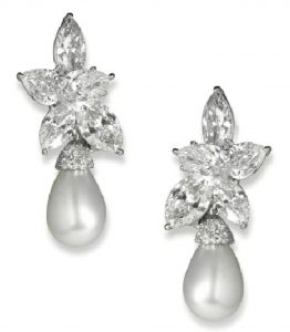 Lot 146 - A PAIR OF FINE NATURAL PEARL AND DIAMOND EARRINGS