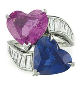 LOT 55 -A SAPPHIRE, COLORED SAPPHIRE AND DIAMOND RING, BY OSCAR HEYMAN & BROTHERS