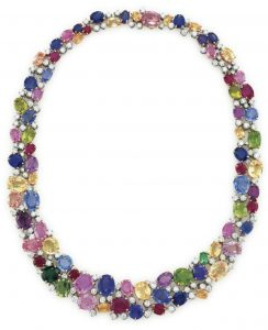 LOT 70 - A MULTI-GEM AND DIAMOND NECKLACE, BY OSCAR HEYMAN & BROTHERS
