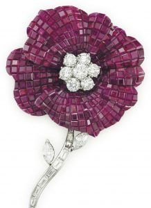 LOT 73 - A RUBY AND DIAMOND FLOWER BROOCH, BY OSCAR HEYMAN & BROTHERS