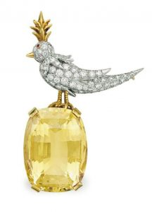 LOT 160 - A DIAMOND, CITRINE AND RUBY 'BIRD ON A ROCK' BROOCH, BY JEAN SCHLUMBERGER, TIFFANY & CO