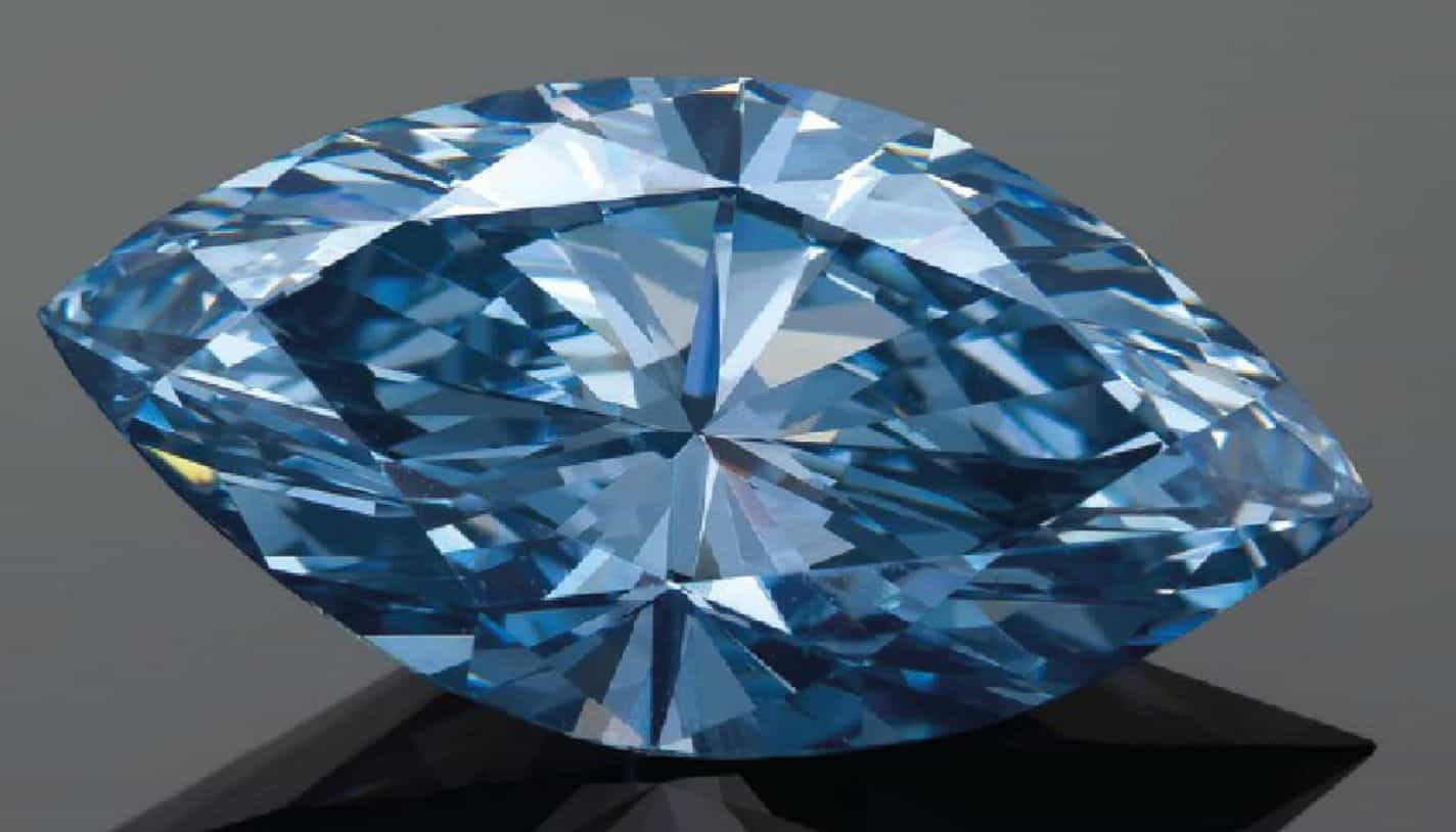 Lot 2079 - 4.29-CARAT MARQUISE-CUT, FANCY VIVID BLUE DIAMOND UNMOUNTED