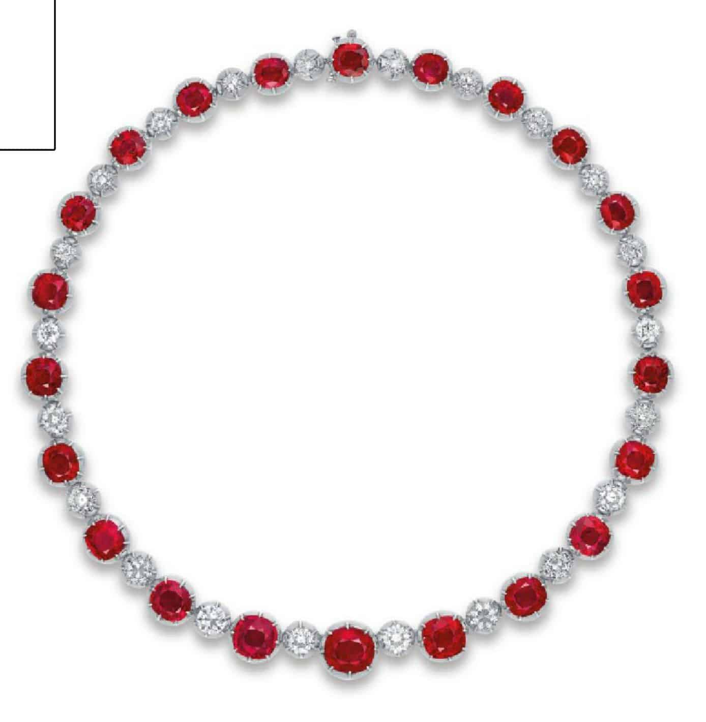 LOT 2086 - AN EXCLUSIVE RUBY AND DIAMOND NECKLACE