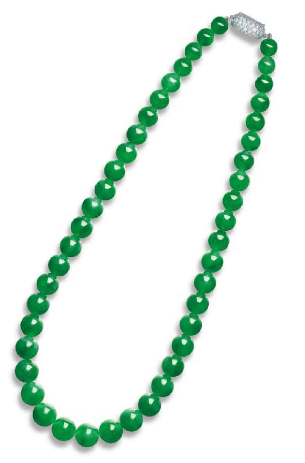 LOT 2011 - THE INNER STRAND OF THE IMPORTANT JADEITE AND DIAMOND NECKLACE