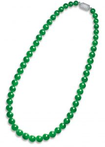 LOT 2011 - THE OUTER STRAND OF THE IMPORTANT JADEITE AND DIAMOND NECKLACE