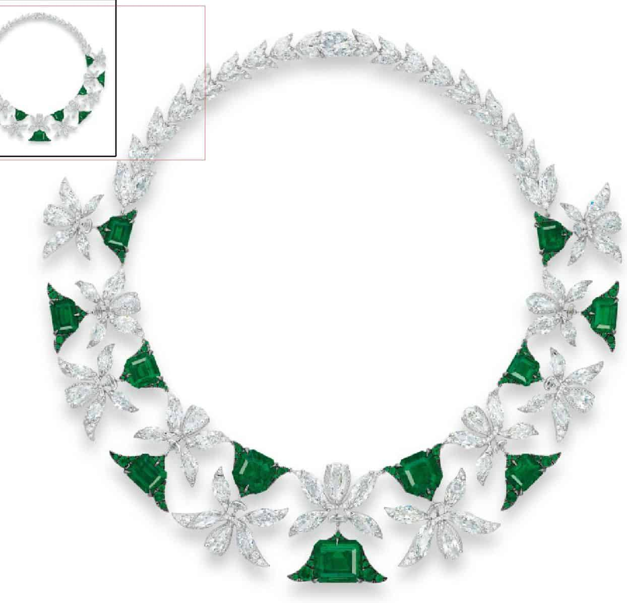 Lot 2043 - A MAGNIFICENT EMERALD AND DIAMOND 'PALMETTE' NECKLACE, BY EDMOND CHIN