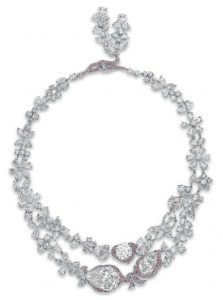 LOT 187- LE JARDIN D'ISABELLE AN EXQUISITE DIAMOND AND COLORED-DIAMOND NECKLACE, BY BOEHMER ET BASSENGE