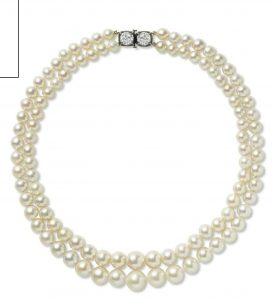 LOT 143 - AN IMPORTANT TWO-STRAND NATURAL PEARL AND DIAMOND NECKLACE