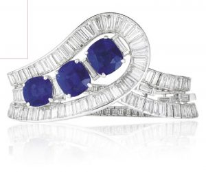 LOT 217 - AN EXQUISITE SAPPHIRE AND DIAMOND BRACELET, BY VAN CLEEF & ARPELS