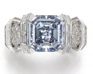 337 - THE SKY BLUE DIAMOND, SUPERB FANCY VIVID BLUE DIAMOND RING, by CARTIER