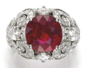 LOT 335 - SUPERB RUBY AND DIAMOND RING, by CARTIER