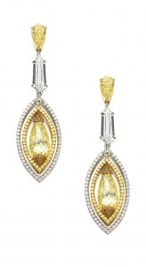 LOT 1722 - PAIR OF FANCY VIVID YELLOW DIAMOND, FANCY INTENSE YELLOW DIAMOND AND DIAMOND PENDANT EARRINGS