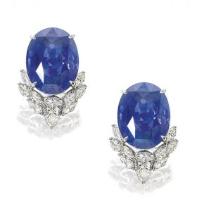 LOT 1713 - PAIR OF SAPPHIRE AND DIAMOND EARRINGS