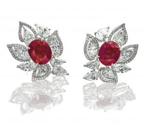 LOT 1788 - RUBY AND DIAMOND EARRINGS