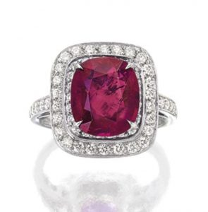 LOT 1776 - RUBY AND DIAMOND RING, TIFFANY & CO