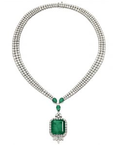 LOT 1773 - EMERALD AND DIAMOND PENDANT NECKLACE