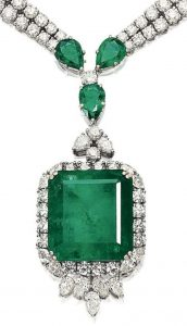 LOT 1773 - PENDANT OF THE EMERALD AND DIAMOND PENDANT NECKLACE