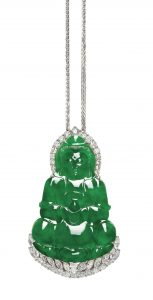 LOT 1761 - JADEITE 'GUANYIN' AND DIAMOND PENDANT NECKLACE