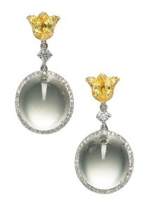 LOT 1764 - PAIR OF EAR PENDANTS OF THE JADEITE, YELLOW SAPPHIRE AND DIAMOND PARURE