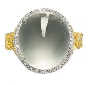 LOT 1764 - THE RING FROM THE JADEITE, YELLOW SAPPHIRE AND DIAMOND PARURE