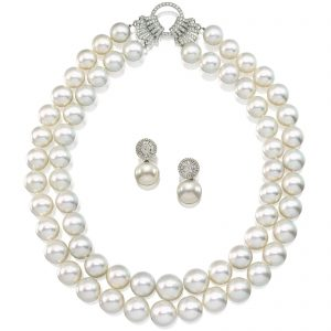 "LOT 1648 - ,""DOUBLE STRAND CULTURED PEARL AND DIAMOND NECKLACE"