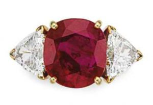 LOT 88 - A RUBY AND DIAMOND RING, BY VAN CLEEF & ARPELS