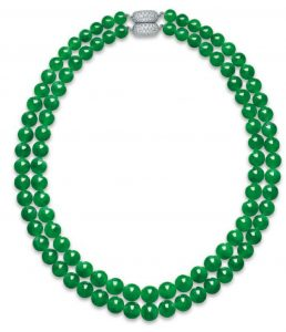 "LOT 2011 - ""AN IMPORTANT JADEITE AND DIAMOND NECKLACE"