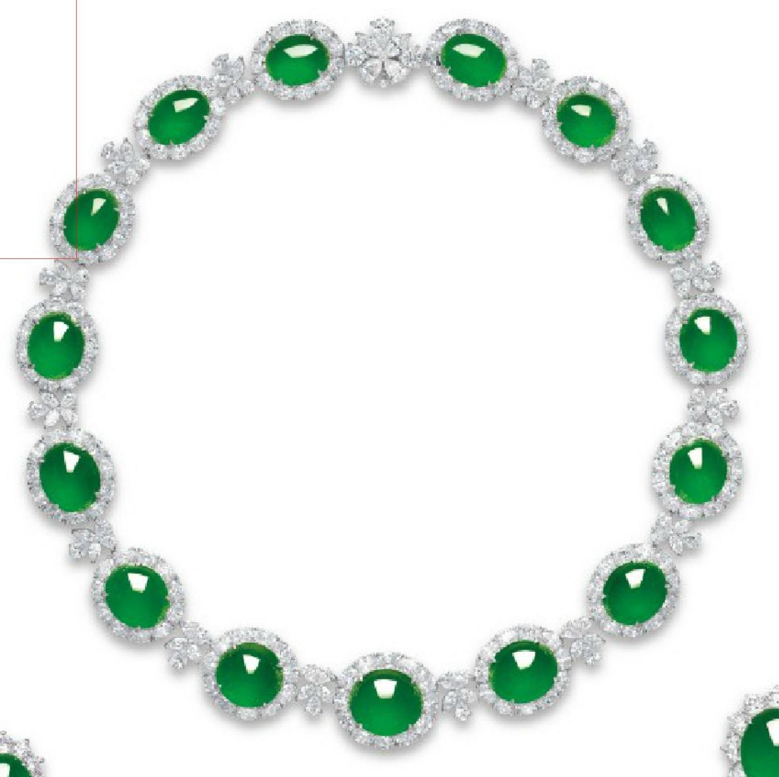 LOT 2060 - NECKLACE OF THE JADEITE AND DIAMOND JEWELRY SUITE