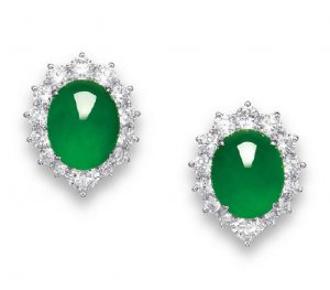 LOT 2060 - PAIR OF EARRINGS OF THE JADEITE AND DIAMOND JEWELRY SUITE