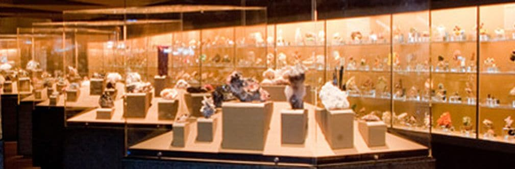 SECTION OF THE GALLERIES OF THE GEM AND MINERAL HALL, NHM LOS ANGELES COUNTY